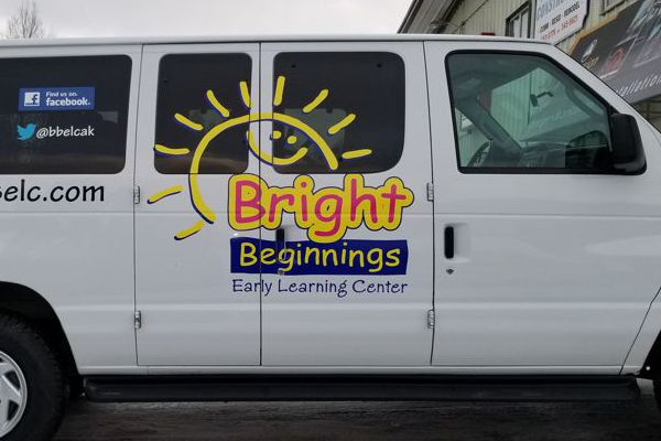 Vinyl Logo & Letters on Bright Beginnings Van